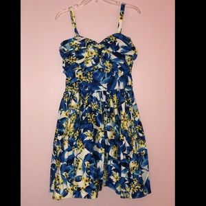 Unique Vintage Blue Yellow Floral 50s Swing Dress